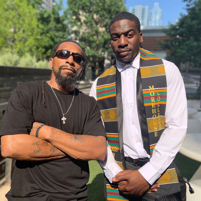 De'Jaun Davis-Correia celebrates his graduation from Morehouse with his uncle.