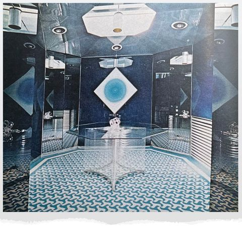 reflective room in blue