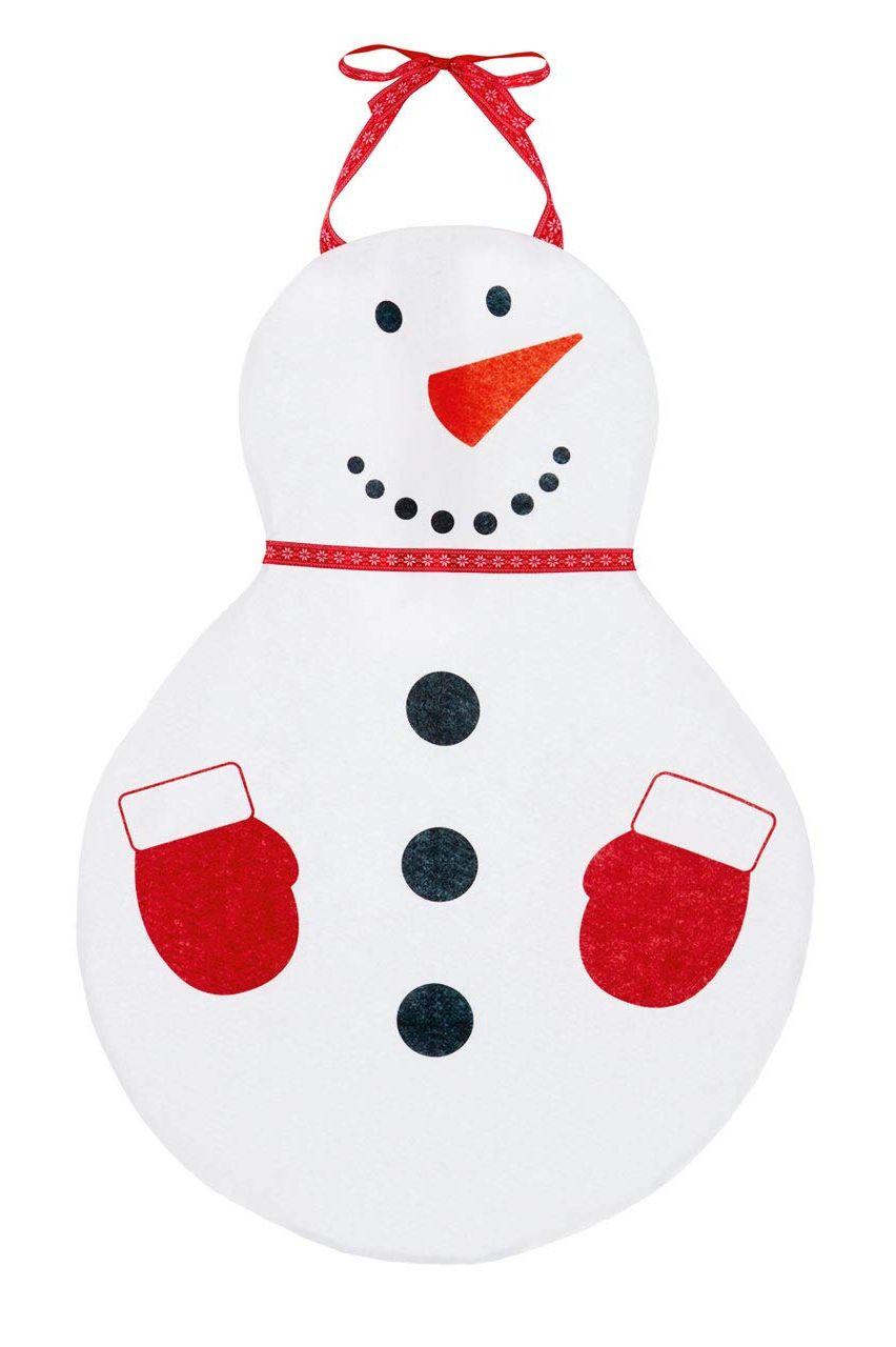 Delantal de fieltro con forma de muñeco de nieve