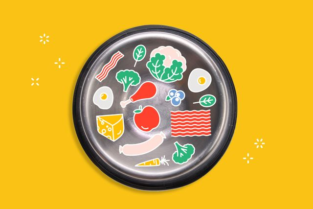 dog bowl filled with illustrations of foods