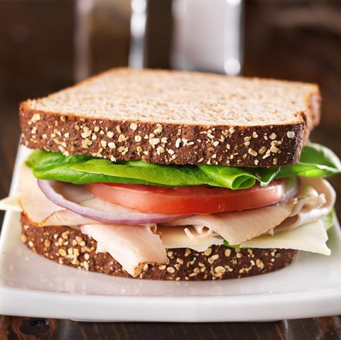 deli meat sandwich, shot at a wide aspect ratio