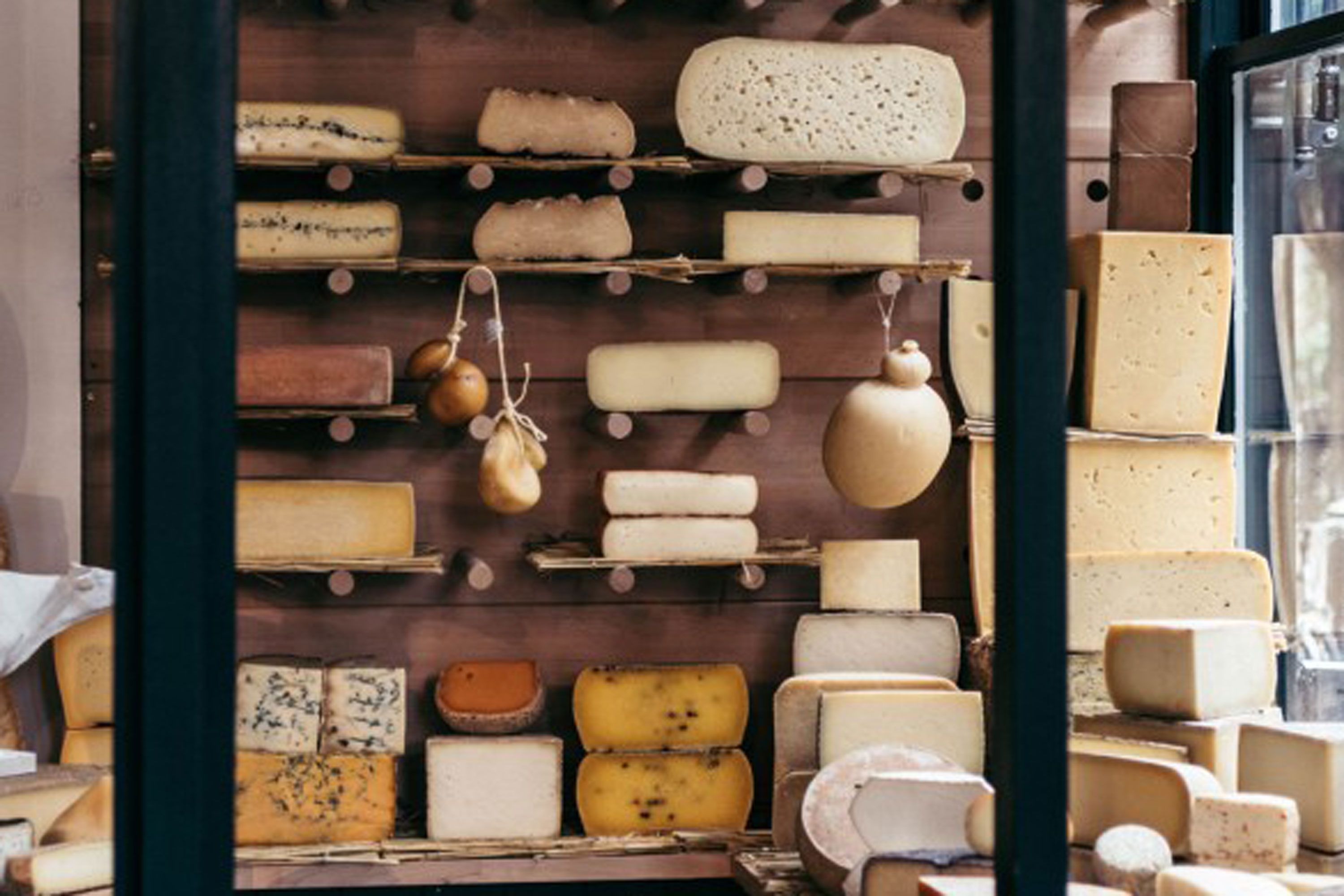 Selection of cheese in La Fromagerie