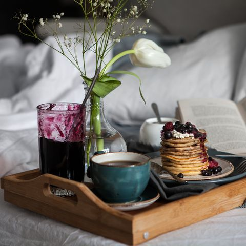 Delicious breakfast in bed