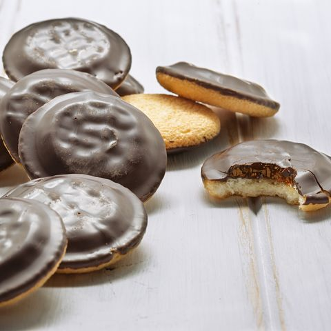 delicious jaffa cakes cookies covered with dark chocolate