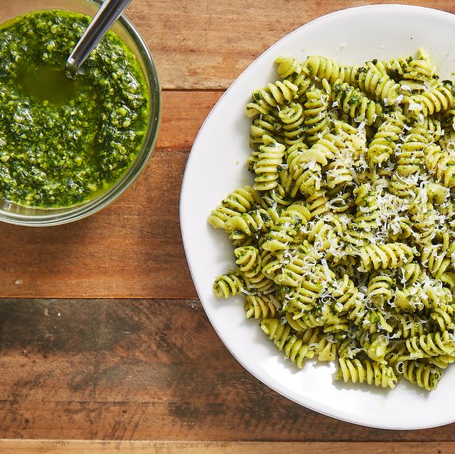 Cuisine, Fusilli, Food, Dish, Ingredient, Rotini, Pesto, Vegetarian food, Produce, Plant,