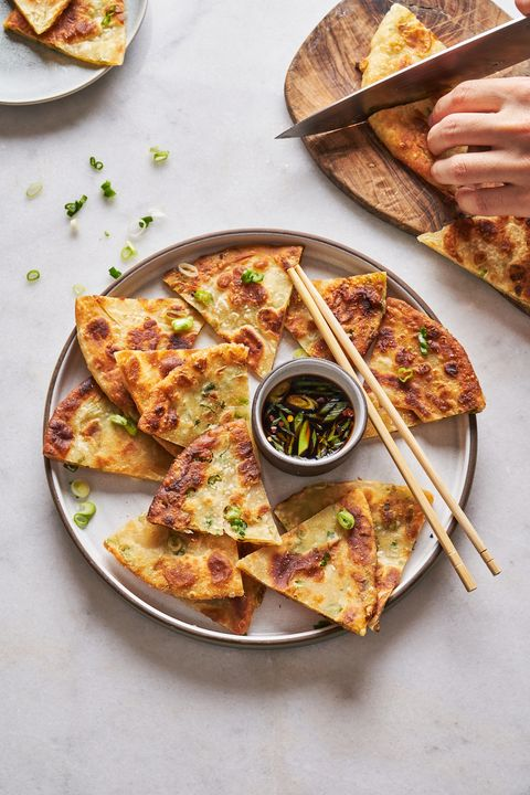 scallion pancakes with soy dipping sauce