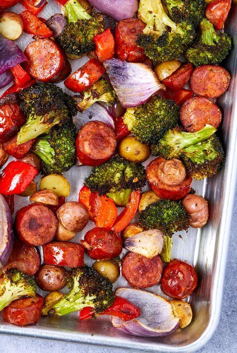 sheet pan sausage and vegetables