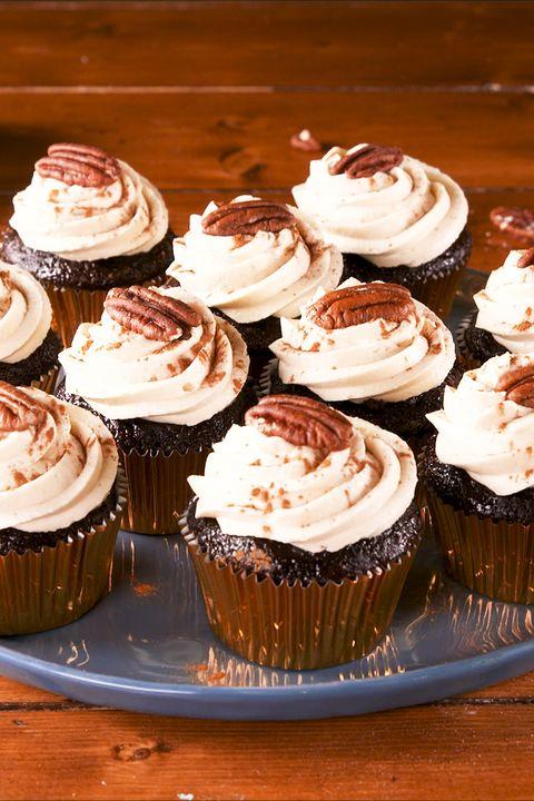 Boozy Pecan Pie Cupcakes - Delish.com