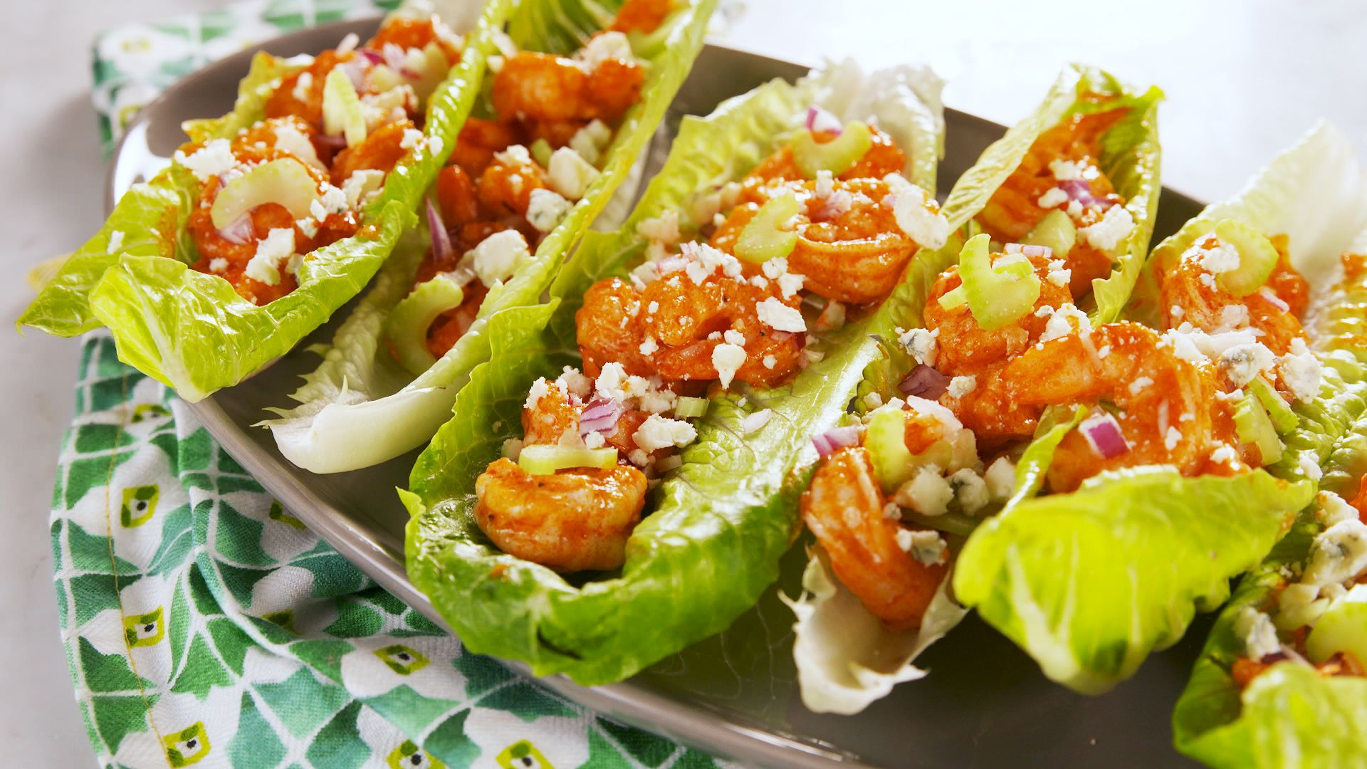 Buffalo Shrimp Lettuce Wraps Recipe Best Buffalo Shrimp Lettuce Wraps Delish Com