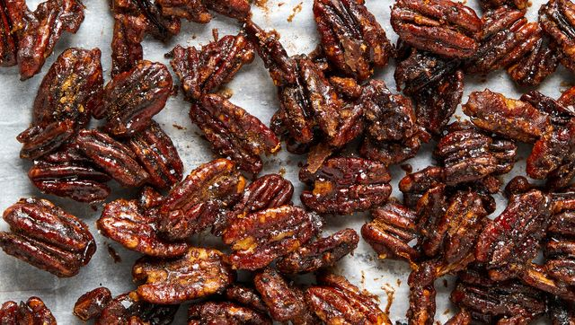 candied pecans, coated with crackly sugar and powdered spices