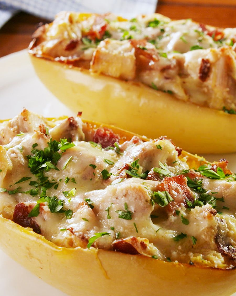 Chicken Bacon Ranch Spaghetti Squash Boats - Delish.com
