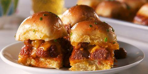 Dish, Food, Cuisine, Slider, Ingredient, Hamburger, Cheeseburger, appetizer, Produce, Finger food,