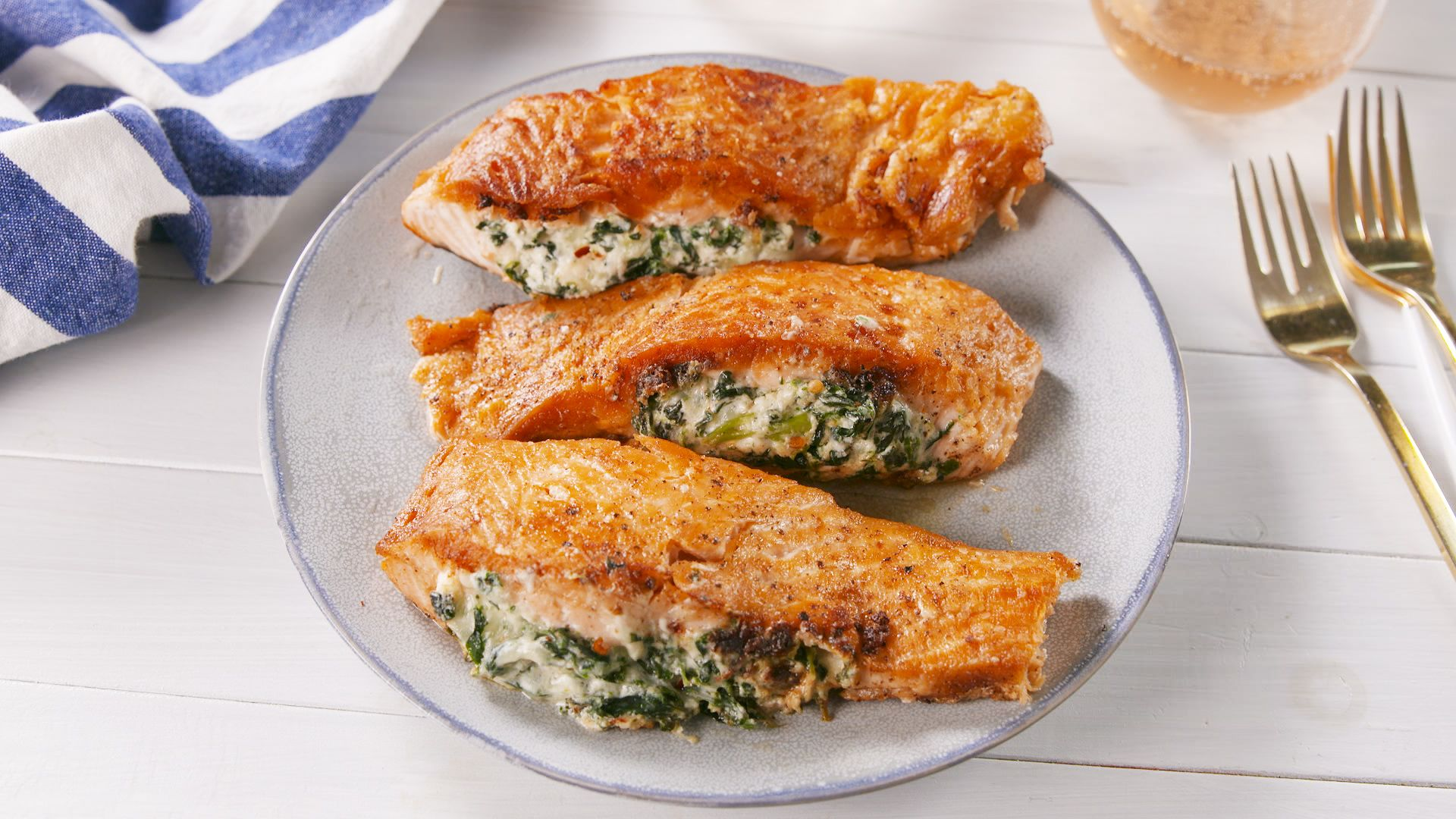 Image result for Creamed Spinach–Stuffed Salmon