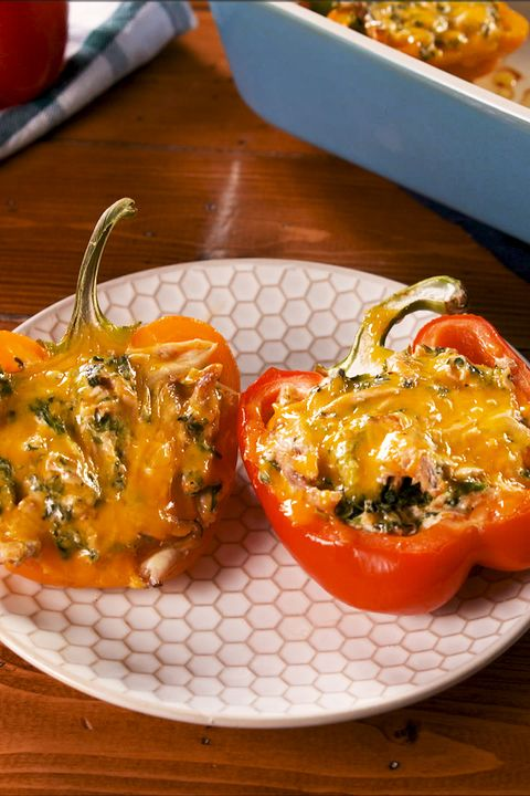 Creamy Chicken Stuffed Peppers - Delish.com