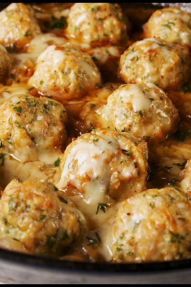 French Onion Chicken Meatballs - Delish.com