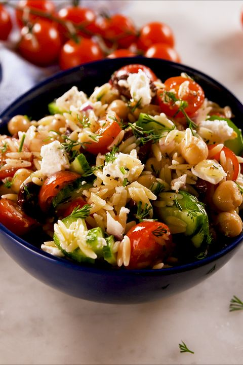 greek orzo salad   delishcom