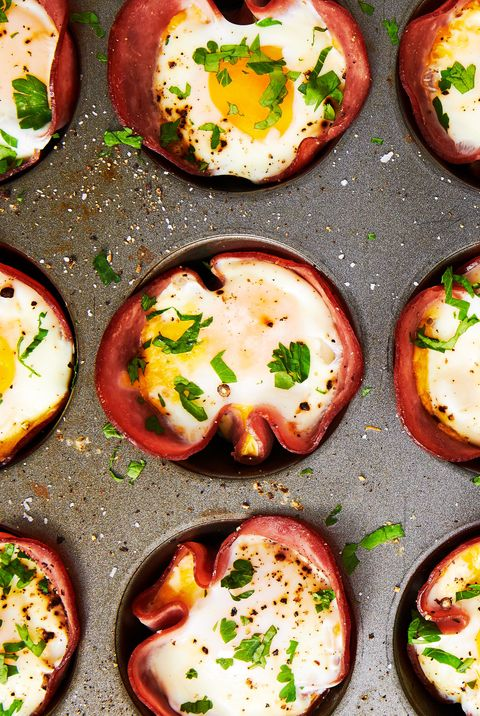 Ham & Cheese Egg Cups horizontal — Delish.com
