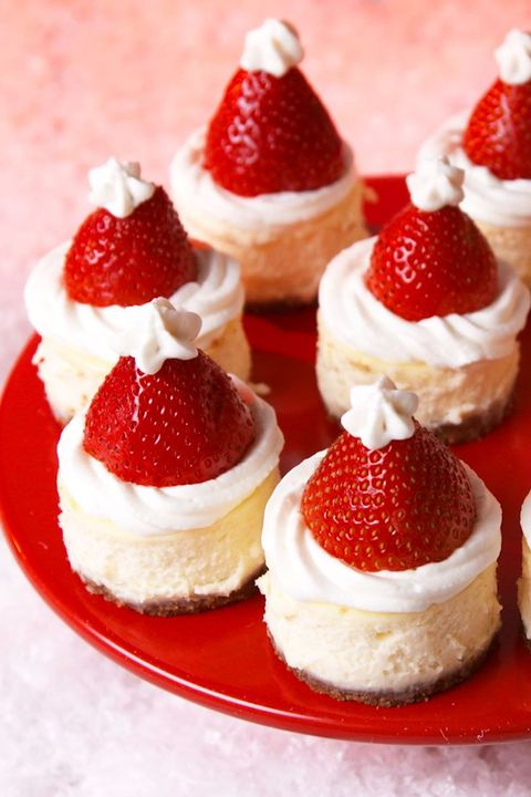 Santa Hat Cheesecake Bites vertical — Delish.com