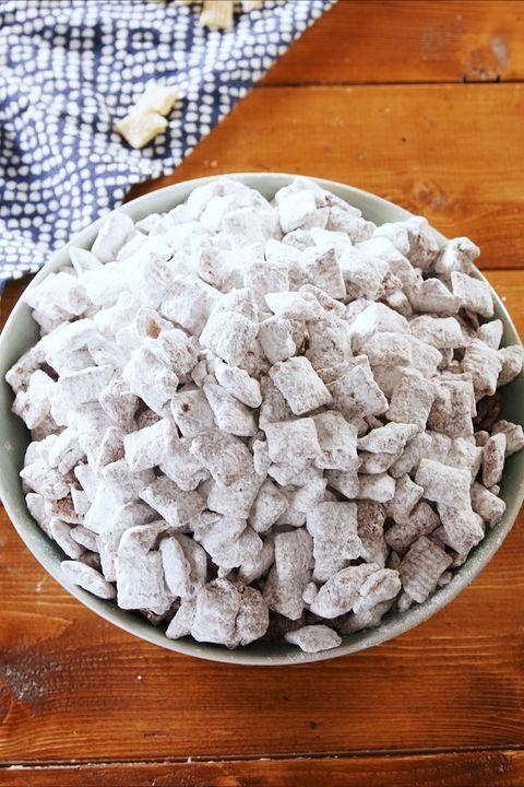 Food, Cuisine, Dish, Ingredient, Puppy chow, Confectionery, Recipe, Powdered sugar, Dessert, American food,