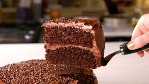 Food, Cuisine, Cake, Dish, Chocolate cake, Dessert, Chocolate, Baked goods, Snack cake, Baking,