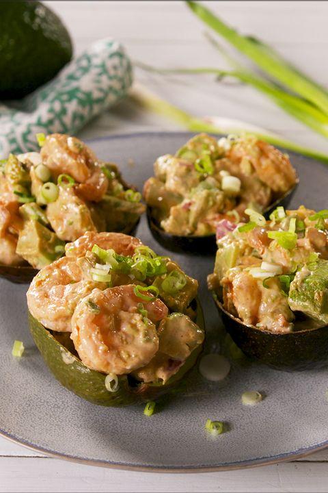 spicy shrimp stuffed avocados   delishcom