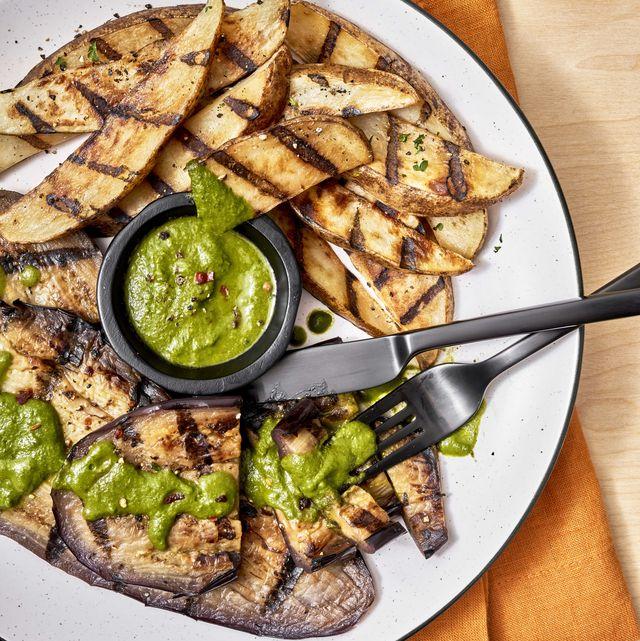 eggplant steak frites with chimichurri