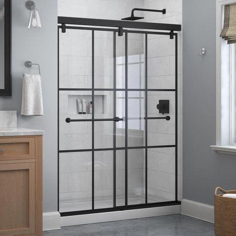 Black Matte Gridded Glass Shower Doors, Frosted Plexiglass Sheets Home Depot