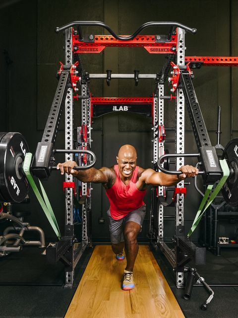 Strength training, Physical fitness, Exercise equipment, Gym, Weights, Shoulder, Weight training, Room, Chin, Fitness professional,
