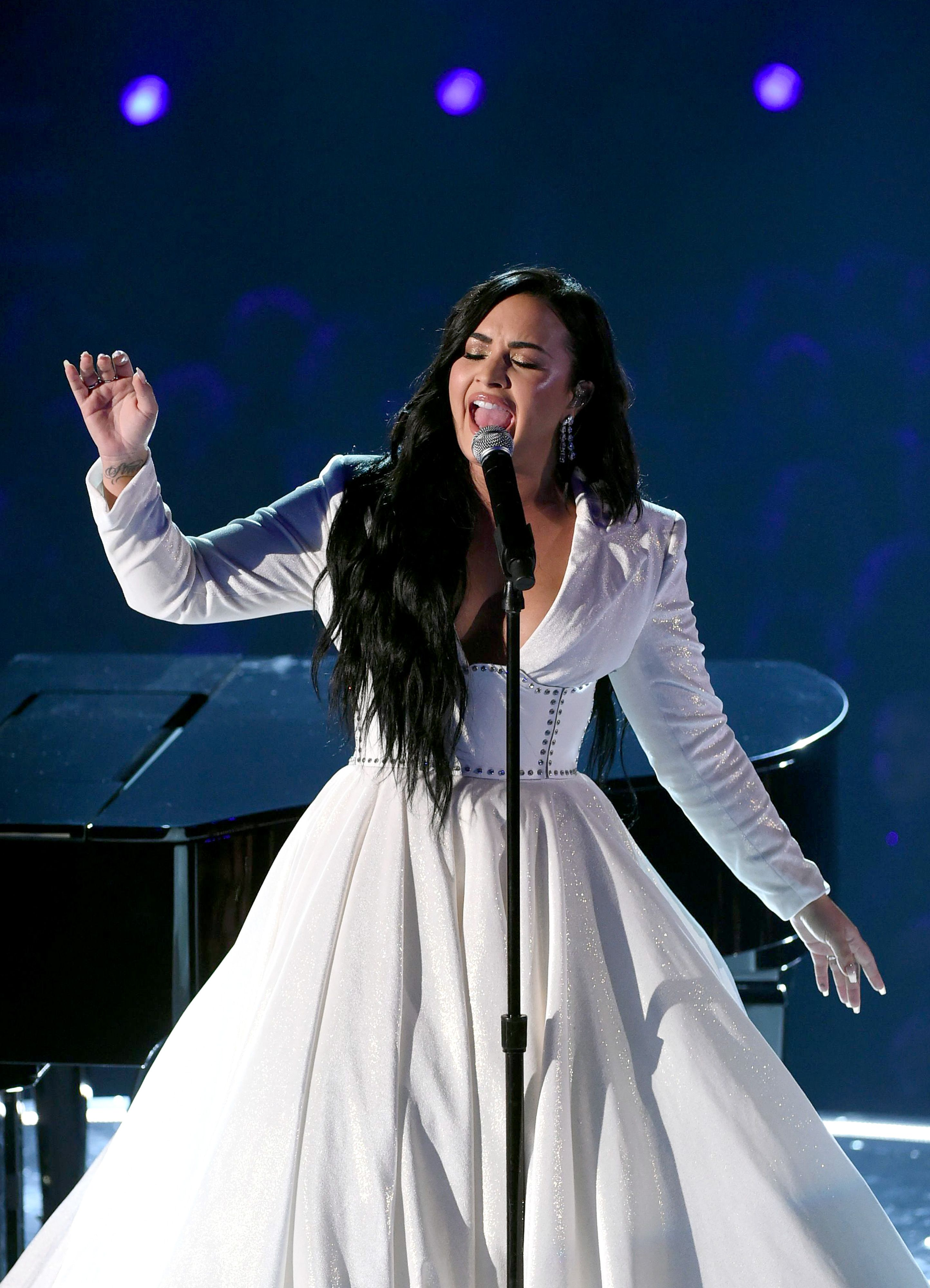 Demi Lovato Tears Up at the Grammys During Her First Live Performance Since Her Overdose
