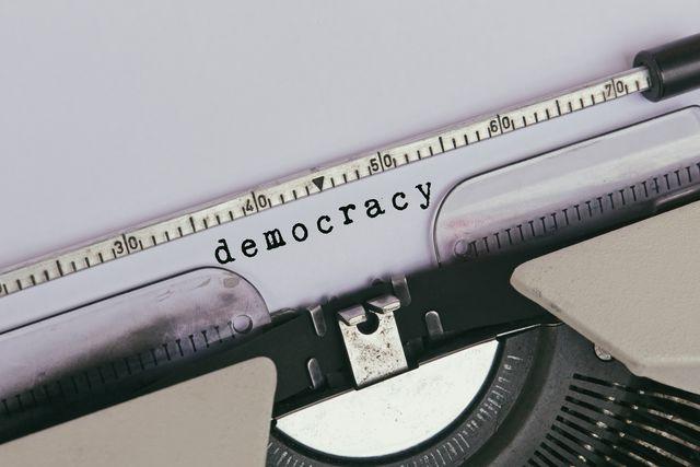 democracy typed on vintage typewriter