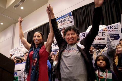Kansas Congressional Candidate Sharice Davids' Holds Election Night Party In Olathe, Kansas