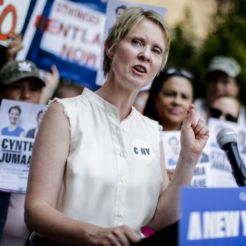 Democratic Gubernatorial Candidate Cynthia Nixon  Rally For Universal Rent Control