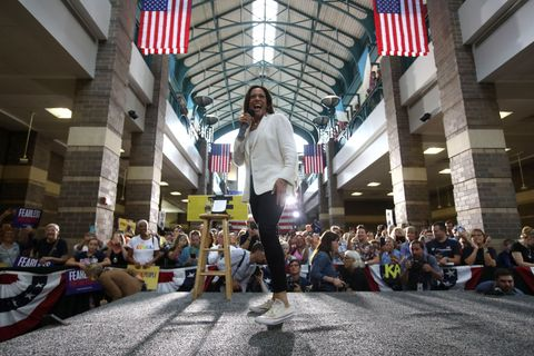 presidential candidate kamala harris takes campaign bus trip across iowa
