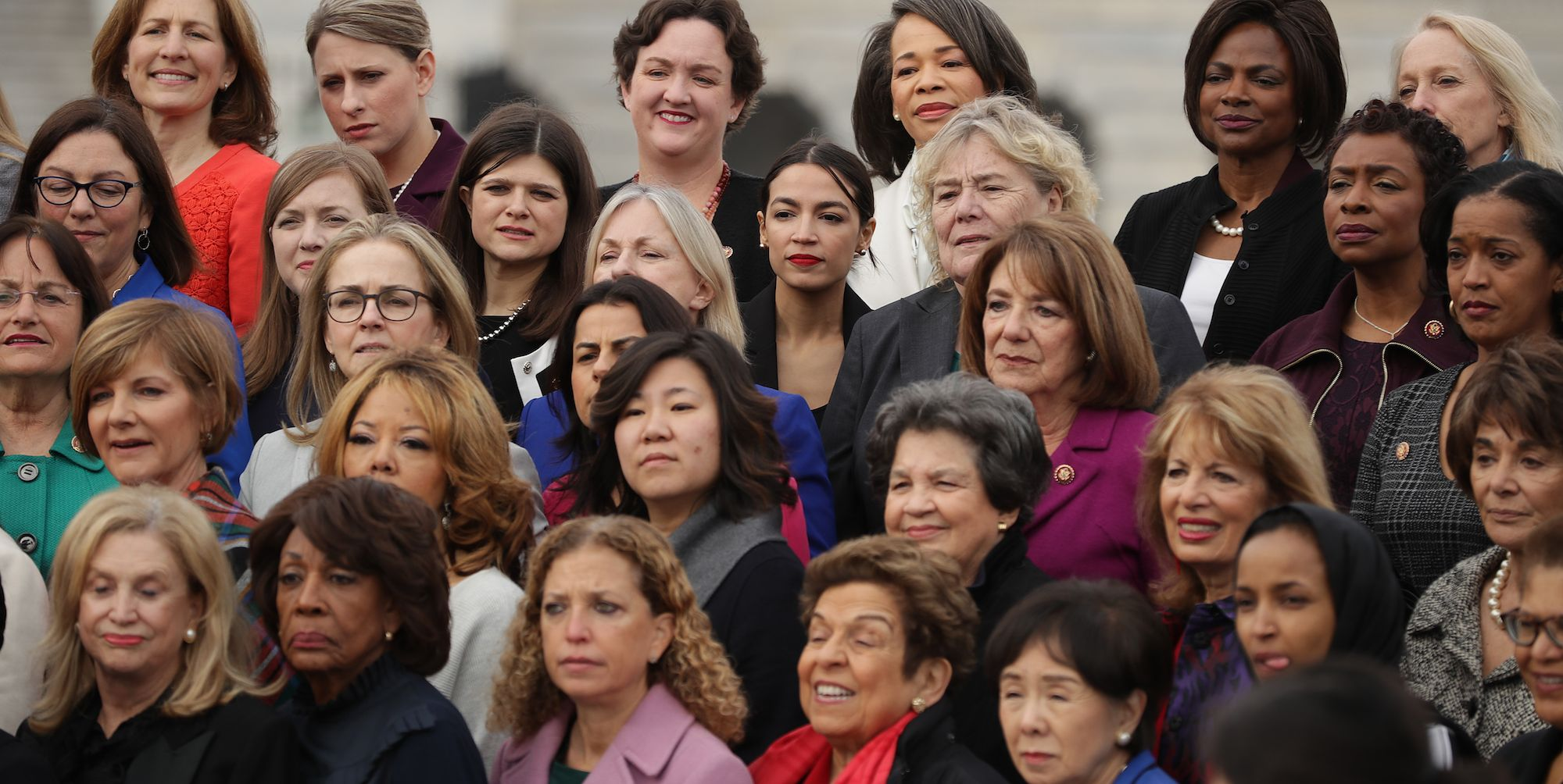 House Speaker Nancy Pelosi And All House Democratic Women Pose For Group Photo At Capitol