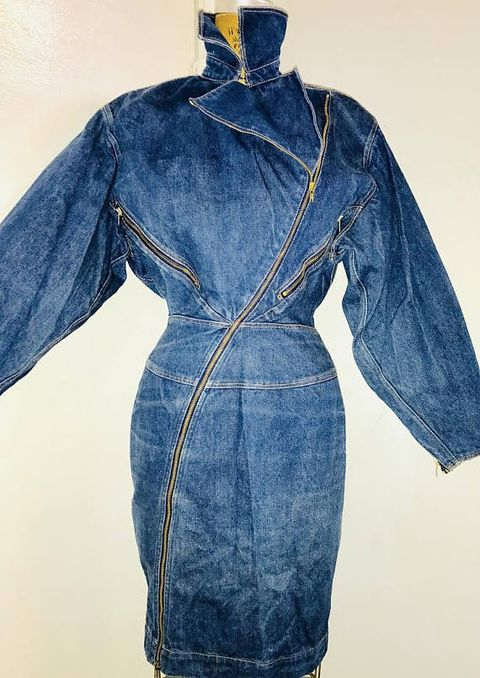 Denim, Clothing, Blue, Jeans, One-piece garment, Outerwear, Sleeve, Textile, Robe, Dress,