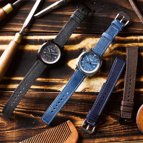 the watches on denim straps, along with the additional cordura nylon ones