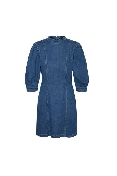 Clothing, Denim, Blue, Sleeve, Outerwear, Jeans, Textile, Robe, Dress, Coat,