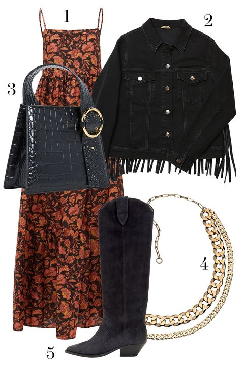 matteau dress, mavi jeans denim jacket, isable marant cowboy boots, parisa wang bag, jennifer zeuner chain necklace