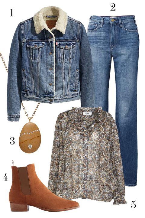levis denim jacket, frame denim jeans,  celine blouse, cvc stones necklace, jack erwin boots