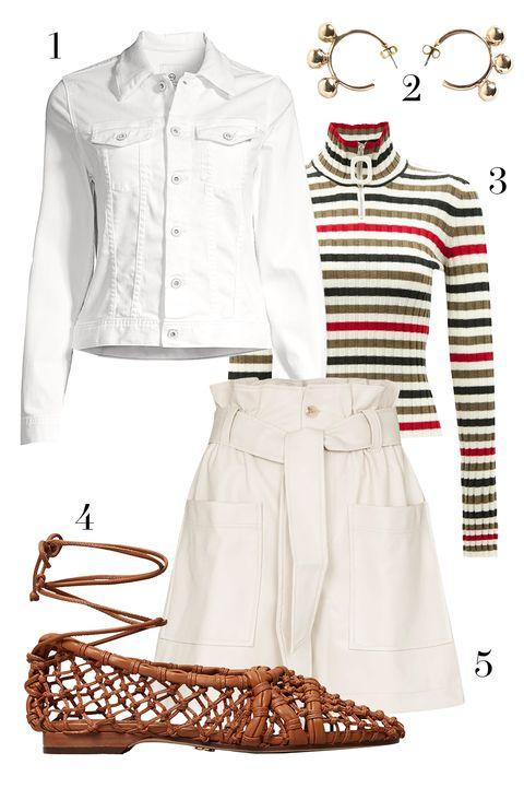 ag jeans denim jacket, jw anderson striped turtleneck sweater, frankie shop tie waist shorts, tory burch woven lace up flats, pichulik gold hoop earrings