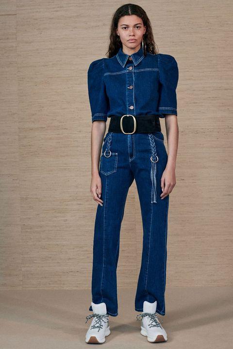 Denim, Clothing, Jeans, Blue, Cobalt blue, Fashion model, Electric blue, Standing, Waist, Fashion,