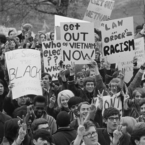 participants in a students for a democratic society sponsored staged a demonstration on the steps of the iowa capitol and called for peace in vietnam in november 1968