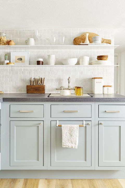 18 Best Kitchen Paint and Wall Colors - Ideas for Por ... Gray Kitchen Cabinets Paint Color Ideas on gray and white kitchens, gray kitchen cabinet doors, gray cabinets kitchen flooring ideas, painted kitchen cabinet ideas,