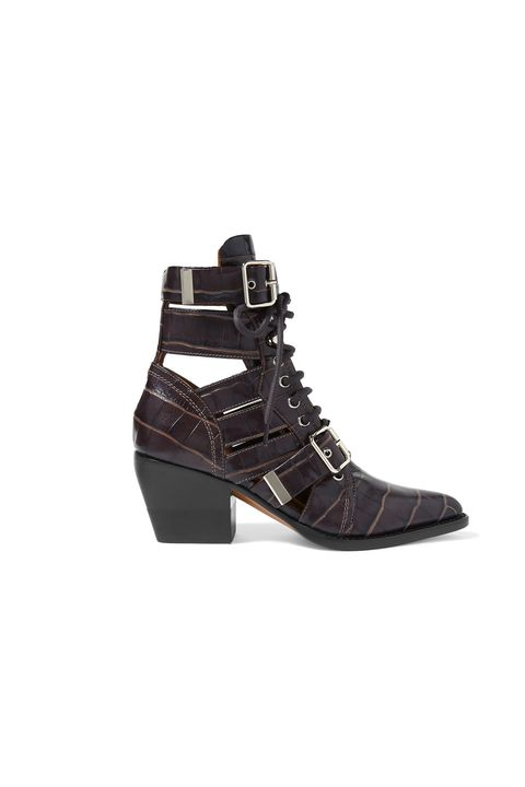 designer shoes on sale - CHLOÉ Rylee cutout croc-effect leather ankle boots