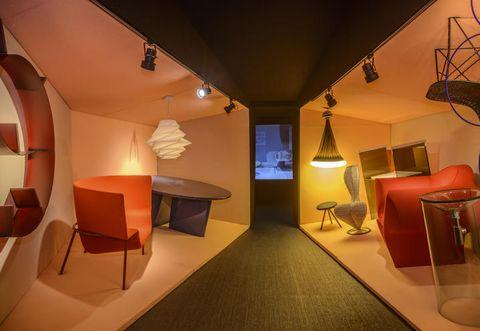 Lighting, Interior design, Room, Floor, Ceiling, Furniture, Flooring, Lamp, Interior design, Chair,