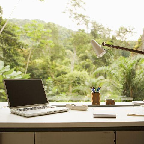 desk by window in home office