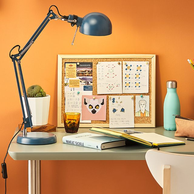 home office desk with lamp
