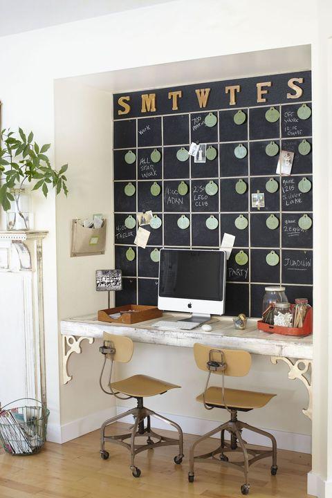 desk organization ideas  chalkboard calendar