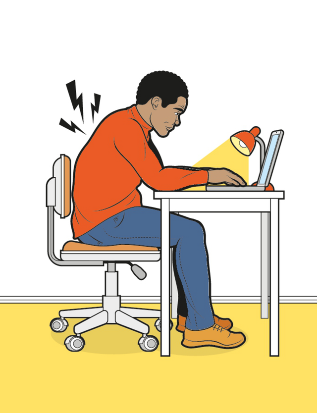 man hunched over his desk and laptop, illustration