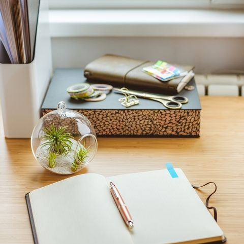 Desk with various stationery objects